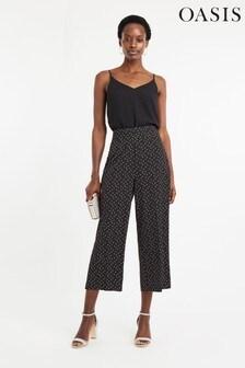 Oasis Black Crop Wide Leg Trouser