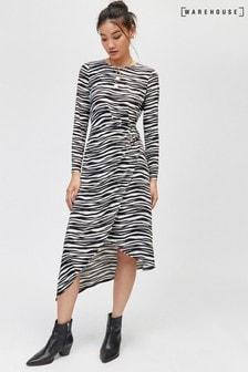 Warehouse Multi Zebra Print O Ring Slinky Dress