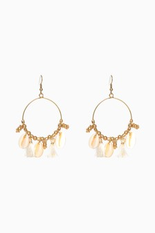 Shell Bead Detail Drop Hoop Earrings