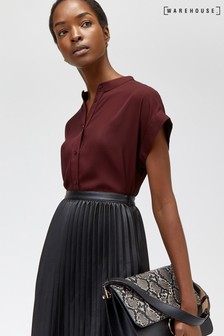 Warehouse Brown Short Sleeve Satin Tipped Blouse