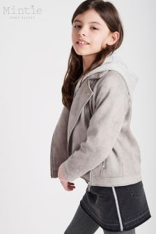 Mintie by Mint Velvet Grey Suedette Biker Jacket With Jersey Lining