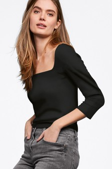 Rib Square Neck Top