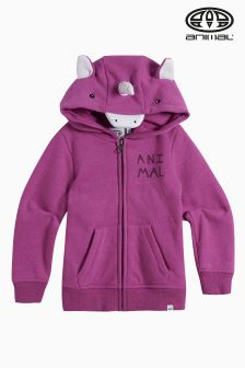 Animal Pink Marl Unicorn Horn Zip Hoody