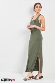 שמלת מקסי רקומה של Superdry בחאקי