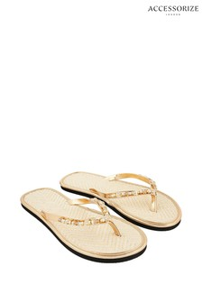 Accessorize Gold Beaded Seagrass Flip Flops