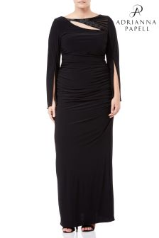 Adrianna Papell Black Plus Long Jersey Dress