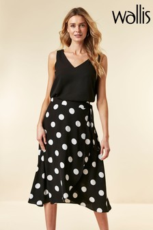 Wallis Black Spot Hanky Hem Skirt