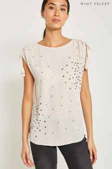 Mint Velvet Nude Sequin Star Tee