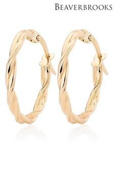 Beaverbrooks 9ct Gold Twist Hoop Earrings