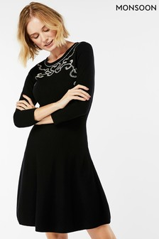 5380fdc6822e2 Monsoon Black Milly Mini Cornelli Fit And Flare Dress