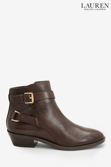 Ralph Lauren Brown Leather Western Ankle Boots
