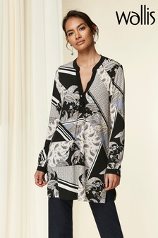 Wallis Black Neutral Patchwork Cutabout Shirt