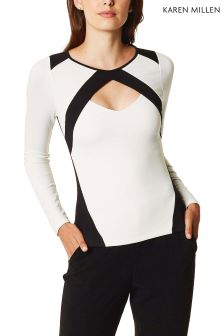 Karen Millen White Sporty Panel Cut-Out Top