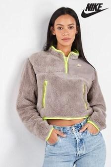 Nike Grey Plush Polar Fleece 1/4 Zip Top