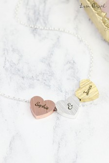 Personalised Triple Heart Necklace by Lisa Angel