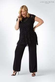 Live Unlimited Black Lace Overlayer Jumpsuit
