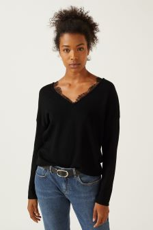 Jigsaw Black Lace Front V-Neck Jumper