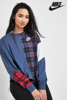 Nike Navy Plaid Long Sleeve Sweat Top