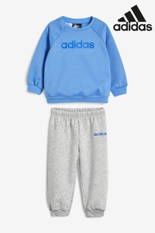 adidas Infant Blue Linear Logo Set