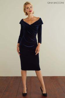 Gina Bacconi Navy Bridget Velvet Dress