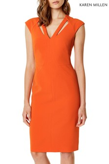 Karen Millen Orange Contour Cut Out Dress