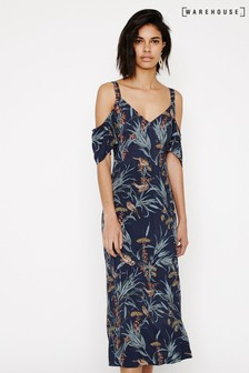 Warehouse Blue Bird Cold Shoulder Midi Dress