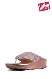FitFlop™ Pink Ruche Twist Grace Toe Post Crystal Sandal