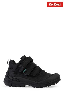 Kickers® Black Trukka Mid Leather Velcro Shoes