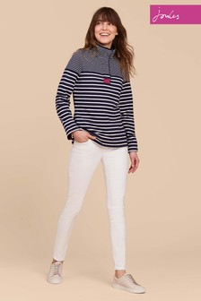 Joules Navy Stripe Saunton High Neck Sweatshirt