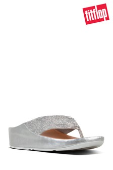 7dcab25a823a FitFlop™ Silver Ruche Twist Grace Toe Post Crystal Sandal