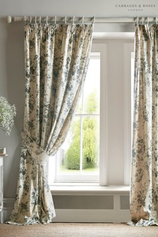 Cabbages & Roses Paris Rose Pencil Pleat Curtains
