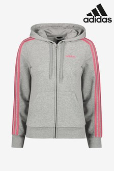 adidas Grey/Pink 3 Stripe Zip Through Hoody