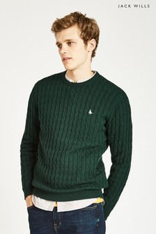 Jack Wills Dark Green Marlow Cable Crew