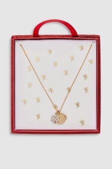 Festive Snowflake Disc Necklace