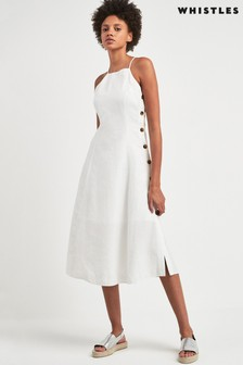 Whistles White Nina Linen Button Apron Dress