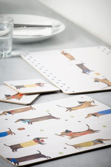 Set of 4 Sausage Dog Table Mats and Coasters