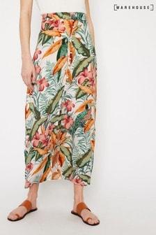 Warehouse Natural Tropical Parrot Maxi Skirt