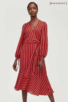 Warehouse Red Stripe Wrap Tie Midi Dress