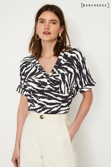 Warehouse Blue Zebra Print Casual Shirt