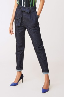 Belted Tapered Jeans