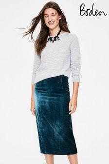 Boden Blue Lorna Velvet Pencil Skirt
