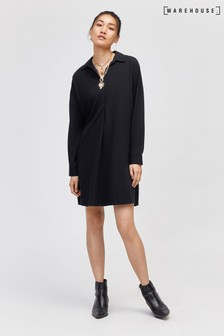 Warehouse Black Open Neck Shirt Dress