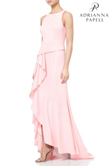 Adrianna Papell Knit Crepe Cascade Gown