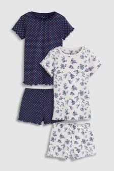 Floral Short Pyjamas Two Pack (3-16yrs)