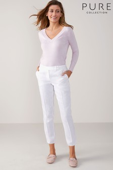 Pure Collection White Linen Slim Leg Cropped Trouser