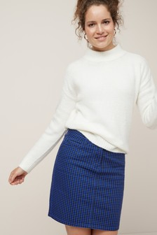 Houndstooth Denim Skirt
