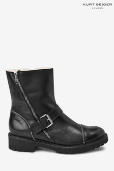 Kurt Geiger London Rudie Black Buckle Boots