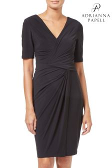 Adrianna Pappel Black Twisted Jersey Sheath Dress