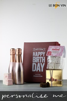Personalised Happy Birthday Sparkling Rose Marshmallow Gift Box by Le Bon Vin