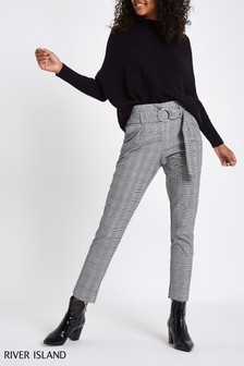 River Island Grey Check Tapered Trouser